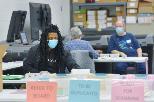 Washington County, Maryland, elections officials wear masks and gloves while opening mail-in ballots Monday in the first canvassing of ballots for the 2020 election. Washington County ballots were canvassed at the local election board's warehouse off Tandy Drive.