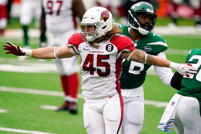 Arizona Cardinals linebacker Dennis Gardeck (45) reacts after sacking New York Jets quarterback Joe Flacco (5) during the first half of an NFL football game, Sunday, Oct. 11, 2020, in East Rutherford. (AP Photo/Seth Wenig)