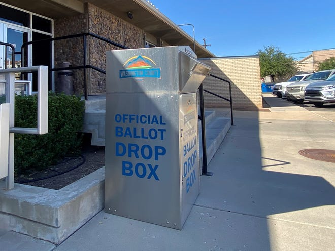 An official ballot drop box outside the Washington County Administration Building at 197 E Tabernacle in St. George. Ballots can be dropped here and at four other locations around the county until 8 p.m. on election day.