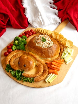 Spider Bread with Mexican Corn Dip makes a festive Halloween treat.