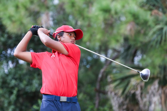 Shawn Tyson, of South Fork High School, tees off at the fourth hole during the boys District 8-3A golf tournament at Hammock Creek Golf Course on Monday, Oct. 12, 2020, in Palm City.