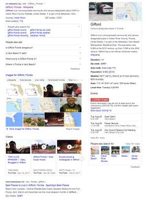 """Cette capture d'écran d'un """"Gifford Floride"""" La recherche Google du 25 août 2020 montre une image de crime dans le panneau des connaissances de la communauté du comté d'Indian River.  Plusieurs résidents ont exprimé leur inquiétude quant à la manière trompeuse dont Gifford a été représenté dans les recherches Google."""