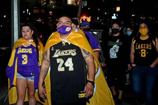 Lakers fans celebrated the team's championship Sunday night outside the Staples Center in LA.