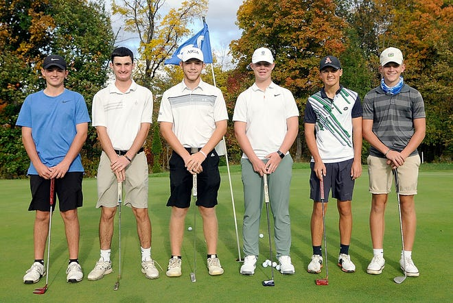 Ashland High boys golf team members (l-r) Kamden Mowry, Aiden Baker, Tyler Sabo, Aidan Chandler, Ryan Frazee and Wyatt Mohrman pose for a picture Monday at  Brookside Golf Course.