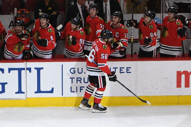 Blackhawks defenseman Erik Gustafsson celebrates his January goal against the Jets with his former teammates.