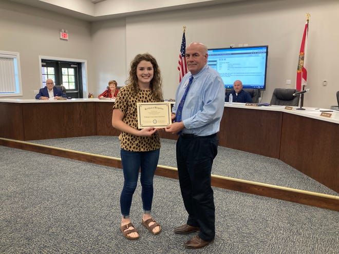 Hannah Hilty (LEF)  received the U.S. Presidential Scholar nominee for the academic component based on SAT/ACT scores