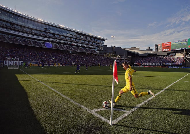 Crew winger Pedro Santos takes a corner kick against FC Cincinnati in Nippert Stadium in August 2019. The teams are set to meet there again on Wednesday night.