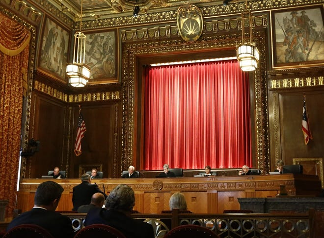Pre-pandemic, the Ohio Supreme Court heard oral arguments on its cases in its ornate courtroom.