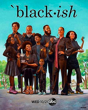 "This image released by ABC shows artwork by artist Kadir Nelson,  a chronicler of contemporary African American experience, showing the cast of ""black-ish"" including Anthony Anderson and Tracee Ellis Ross in character as part of a riff on the ""sipping tea"" meme. The series returns for its seventh season Wednesday."