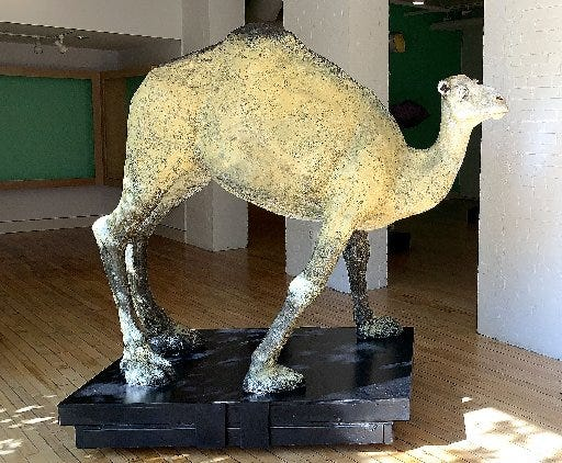 Artist Treacy Ziegler's exhibit at the Erie Art Museum includes sculptures of animals made wtih letters from inmates.