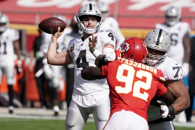 Kansas City Chiefs defensive end Tanoh Kpassagnon is unable to get pressure on Las Vegas Raiders quarterback Derek Carr in Sunday's game at Arrowhead, The Chiefs defense, which had held its first four opponents to 20 points or fewer in the first four games, allowed Carr and the Raiders 490 yards of total offense in the 40-32 loss.