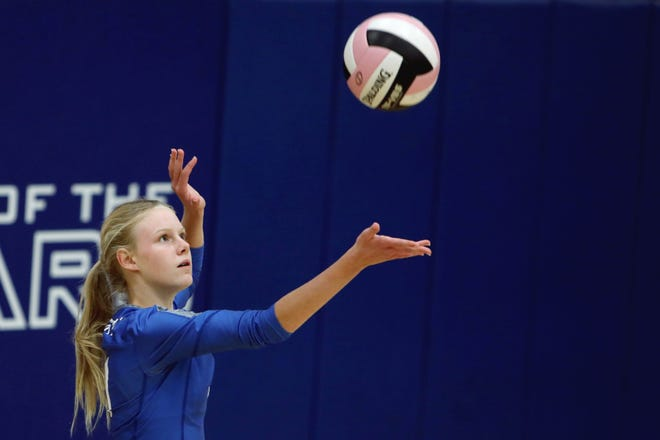 Holy Trinity High School's Natalie Randolph (11) serves the ball during their match against Danville High School Monday, Oct. 12, in Danville.