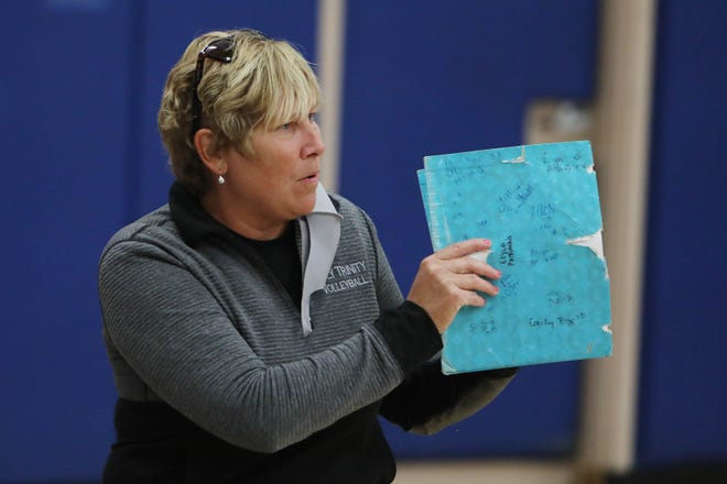 Holy Trinity High School's head coach Melissa Freesmeier  during their match against Danville High School, Monday Oct. 12, 2020 in Danville.