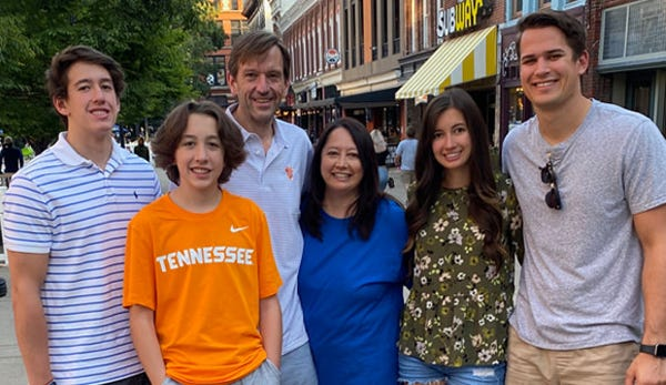 Ohio resident Mark Ridpath (third from left) and his family. He suffered a stroke while in the Jacksonville area in 2018 and was treated at Baptist Health, where doctors performed a new lifesaving procedure to remove a blood clot.