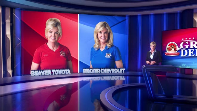 "Linda Beaver enjoys playing the role of moderator and representatives for Beaver Toyota and Beaver Chevrolet in the dealership group's current commercial, ""The Great Debate.''"