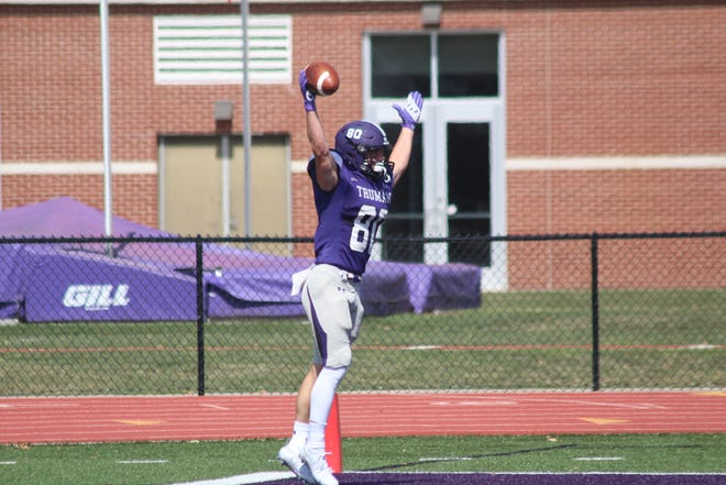 Truman receiver Spencer Newell celebrates a touchdown catch last year against Wayne State.