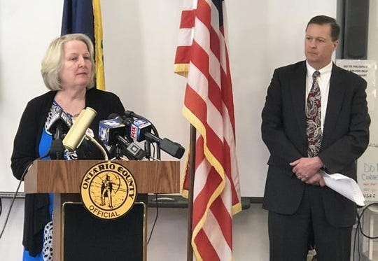 Ontario County Public Health Director Mary Beer, with interim County Manager Brian Young looking on last March, is urging residents to continue to keep their guard up against COVID-19, as an increase in cases has been reported since Oct. 1.
