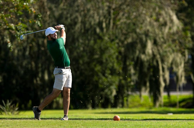 Forest's Eoin Buckelew with his tee shot off #5 during the District 4-3A Championship at Ocala Golf Club on Tuesday. Buckelew was medalist with a score of 68.