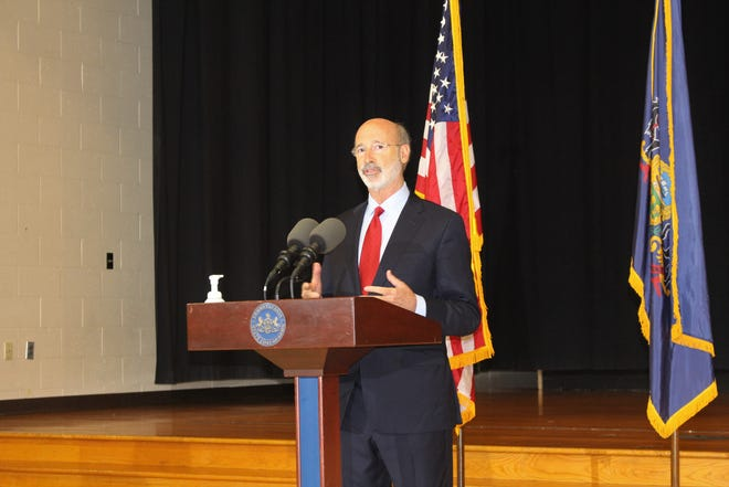 Gov. Tom Wolf discusses the economic and societal benefits of legalizing adult-use cannabis in the commonwealth at The Mountain Center in Tobyhanna on Tuesday, Oct. 13.