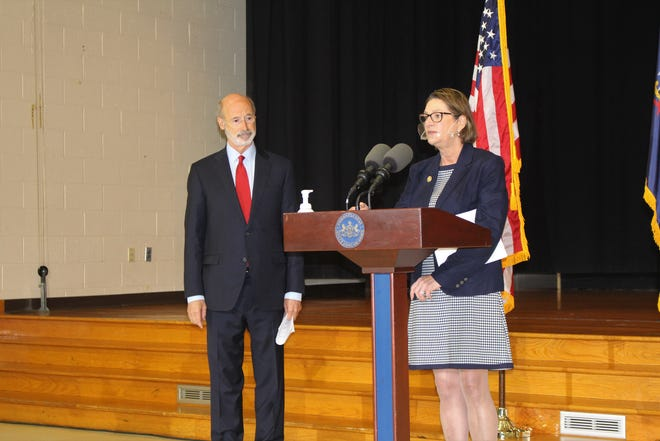 Representative Maureen Madden and Governor Tom Wolf, seen here, along with hemp farmer Eric Titus White (not pictured) came together at The Mountain Center in Tobyhanna on Tuesday to call on the General Assembly to pursue the legalization of adult-use recreational cannabis. The advocates has said that legalization could help to repair the economic damage done by the pandemic, while also balancing the scales of justice in Pennsylvania.