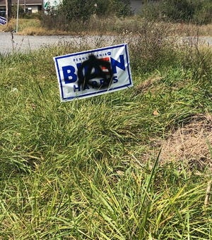 A defaced Biden/Harris campaign sign in Monroe County, Pa.