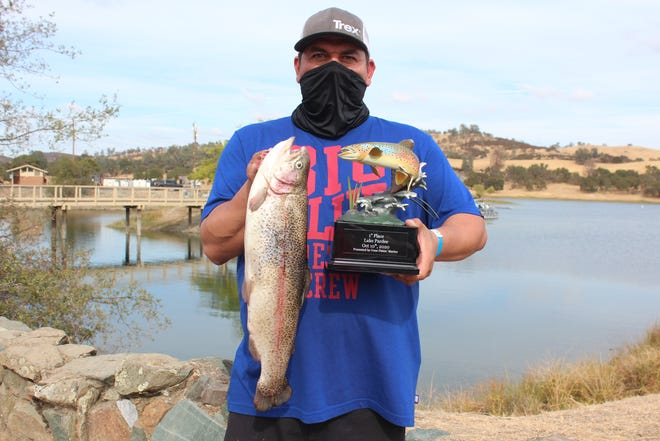 Raymond Morales of Stockton placed first in the NorCal Trout Anglers Challenge event at Lake Pardee when he caught a 4.94-pound rainbow trout.
