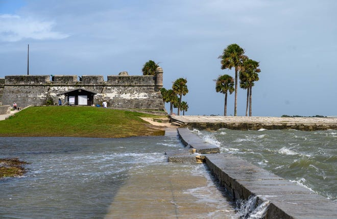 Water breaches the seawall in front of the Castillo de San Marcos National Monument in St. Augustine during a storm in September.