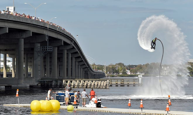 Kristen Smoyer, 2016 World Flyboard champion, performs during the fifth annual Bradenton Area River Regatta. The 2021 event has been canceled because of COVID-19.