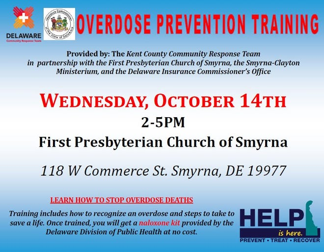 A free training and opioid rescue kit distribution is set for 2 to 5 p.m. Oct. 14 at the First Presbyterian Church of Smyrna.