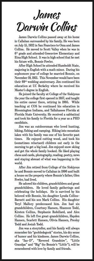Obituary: James Darwin Collins