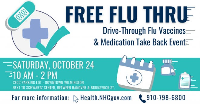 Free drive-through flu vaccines and medication take back event will be held Saturday, Oct. 24.