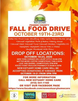 New Estuary Home Care Fall Food Drive Oct. 19-23