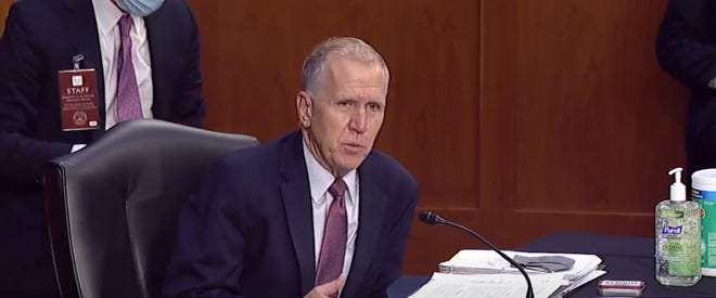 North Carolina Sen. Thom Tillis speaks during  a Senate Judiciary Committee hearing for Judge Amy Coney Barrett, who has been nominated by President Donald Trump to serve on the U.S. Supreme Court.