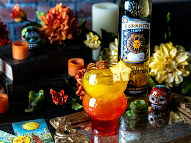 Mango Star-Rise, which showcases golden Espanita Reposado Tequila, is a perfect cocktail for celebrating Dia de Los Muertos, Day of the Dead.
