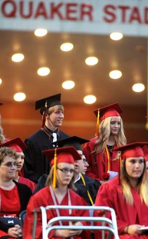 New Philadelphia High School traditionally holds its graduation ceremonies at Woody Hayes Quaker Stadium.