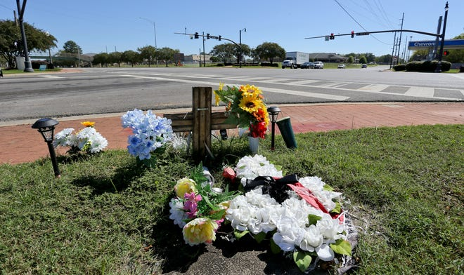 A small shrine at the intersection of 15th Street and Martin Luther King Jr. Blvd. erected for Kendrell Watkins is seen Tuesday, Oct. 13, 2020. Watkins died in the hospital after being tazed by Tuscaloosa Police officers. The investigation is awaiting autopsy results before the case is forwarded to a grand jury. [Staff Photo/Gary Cosby Jr.]