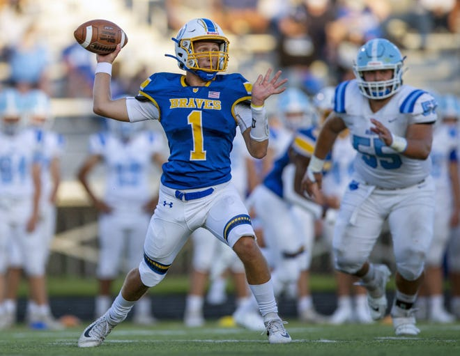 "Senior quarterback Kaden Doup has been making a strong contribution to Olentangy's offense after previously playing linebacker. ""He's doing a good job of securing the ball. He is playing within himself, and he's gotten better every week,"" coach Mark Solis said."