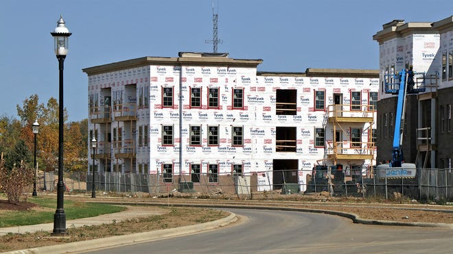 Construction continues Oct. 9 on Beulah Place apartments at the Beulah Park Living development in Grove City (on the site of the old racetrack).