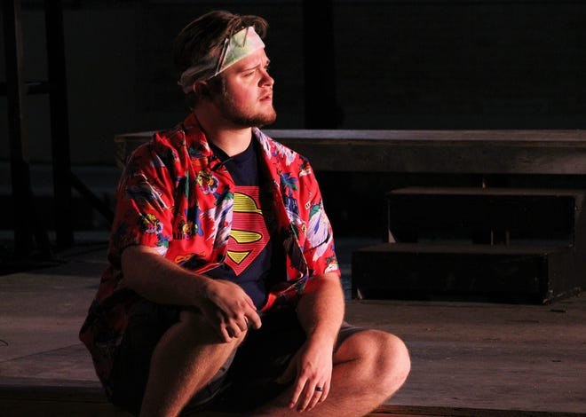 """Zane Wilchar's Jesus listens as well as speaks in McMurry University's homecoming production of the musical """"Godspelll,"""" which will be performed Thursday to Sunday on the campus Quad."""