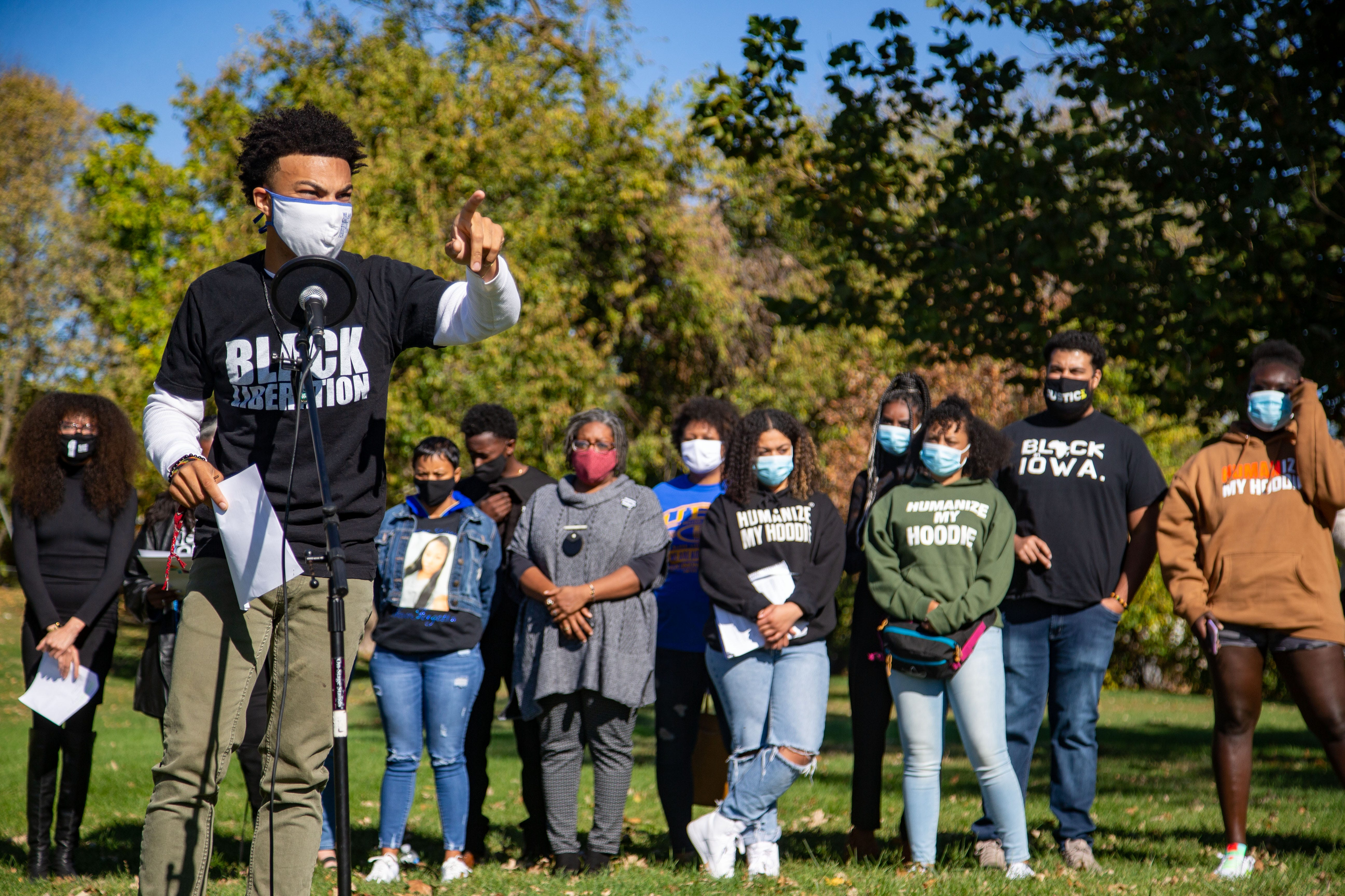 BLM organizer Matthew Bruce speaks during a press conference declaring a state of emergency for Black Iowans at Cheatom Park Tuesday, Oct. 13, 2020.