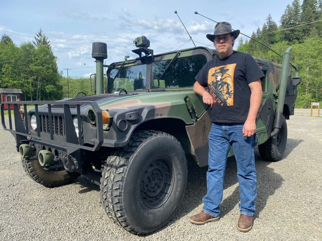 Joe Bongiovanni, of Toutle, Wash., installed thermal imaging equipment in a military Humvee to search for Sasquatch in forests below Mount St. Helens.