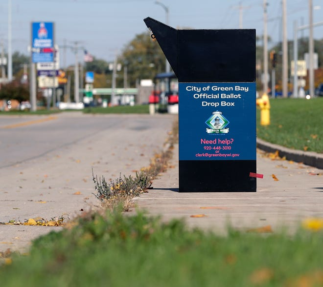 A ballot drop box for Green Bay residents at 2256 W. Main St. Frontage Road in Green Bay.