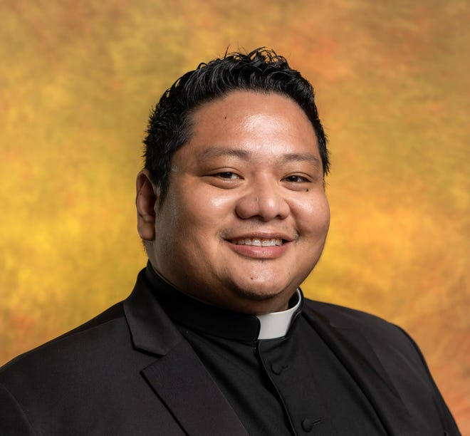 "Archbishop Michael Byrnes will ordain Deacon Honorio ""Ron"" Valdeavilla Pangan Jr., pictured here, to the priesthood at 2 p.m. on Saturday, Oct. 17."