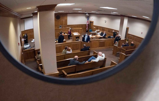 The lawsuit between Madison County Sheriff John Mehr and the county commission goes to trial at Madison County Circuit Court in Jackson, Tenn., Tuesday, Oct. 13, 2020.