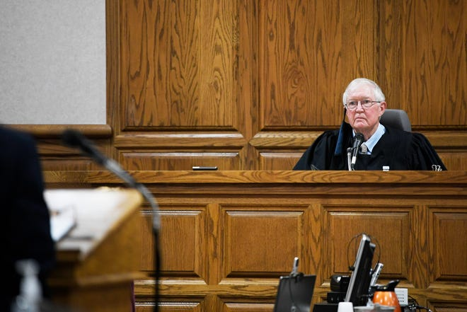 Judge William Acree listens to the opening statements on the first day of the lawsuit between Madison County Sheriff John Mehr and the county commission goes to trial at Madison County Circuit Court in Jackson, Tenn., Tuesday, Oct. 13, 2020.