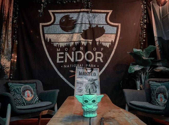 Movida at Hotel Madrid is doing a pop-up Star Wars themed bar. The patio has rooms that resemble the Hoth (Ice Planet), Endor (Forest Moon), Tatooine (Desert Planet), and Bespin (Home to Cloud City).