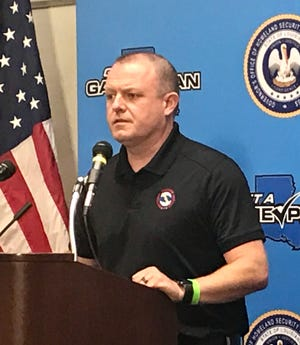 Benjamin Schott, the meteorologist in charge of the National Weather Service's New Orleans office, talks about Hurricane Delta on October 6, 2020 during a press conference with Louisiana Govern John Bel Edwards.