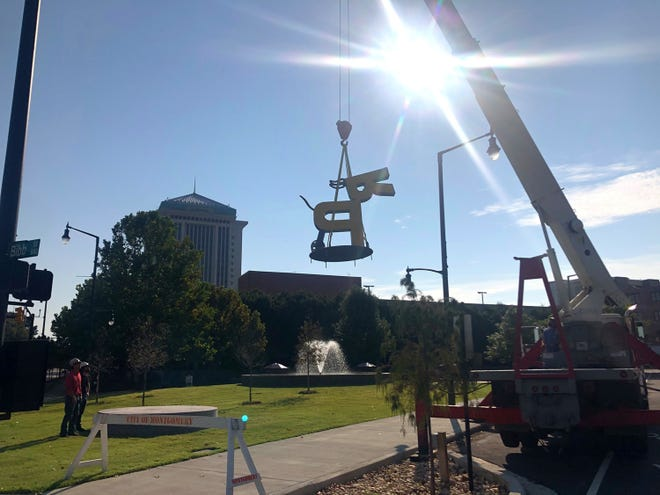 RP Super Dog arrives at downtown Montgomery's Rotary Park on Oct. 8, 2020.