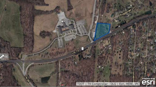 Highlighted in blue is the site of the future Dickson Fire Department Fire Station No. 3 on Highway 70 in the City of Dickson.