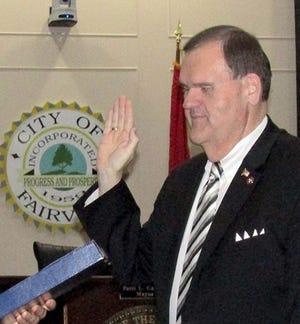 Fairview Mayor John Blade being sworn in.